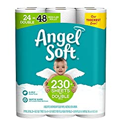 Angel Soft Toilet Paper, Double Rolls, Regular Bath Tissue Rolls, 24 Count