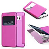 Urcover Funda Compatible con Samsung Galaxy S6 Edge S-View Carcasa con Tapa Libro Funcion Soporte, Flip Case Delgada protección Pantalla con Ventana Wallet Cover - Rosa Pink