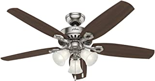 Hunter 53237 Builder Plus 52-Inch Ceiling Fan with Five Brazilian Cherry/Harvest Mahogany Blades and Swirled Marble Glass Light Kit, Brushed Nickel (Renewed)