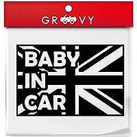 MINI ミニクーパー ブラックジャック ユニオンジャック ステッカー baby in car 安全運転 シール デカール赤ちゃん 乗ってます 子供 出産祝い プチギフト プレゼント_931b (ブラック)