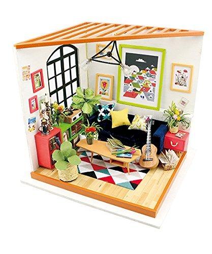 Dormitorio de madera, muebles de casa de muñecas y accesorios – Puzzle de construcción de madera – DIY miniatura adorable casa – regalo creativo para niñas (sala de estar de Locus)