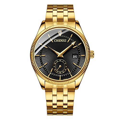 Reloj de cuarzo para hombre estilo clásico de acero inoxidable con cristales de fecha para hombre