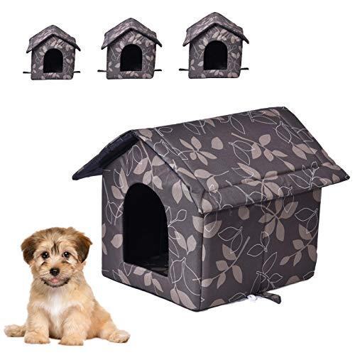 moonship Casa Portátil Plegable para Perro Pequeños/Gato - Casa para Mascotas Impermeable Interior Exterior, Nido Cueva Calientes para Perros Gatos con Alfombra Extraíble