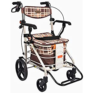 4 Wheel Lightweight Shopping Trolley Elderly Rollator Walker With Seat To Buy Food To Help Push The Small Folding Cart,Only 8Kg,B:Wenstyle