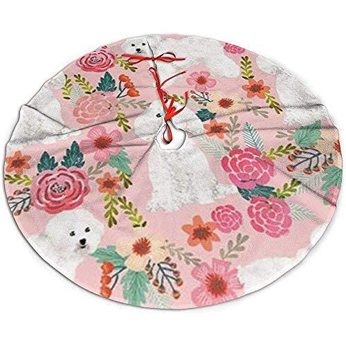 Egoa Kerstboom Rok Hond Roze Bloemetjes Feest Een Fijne Decoratieve Kerstboom Rok Vakantie Boom Rok Xmas Boom Rok 122cm