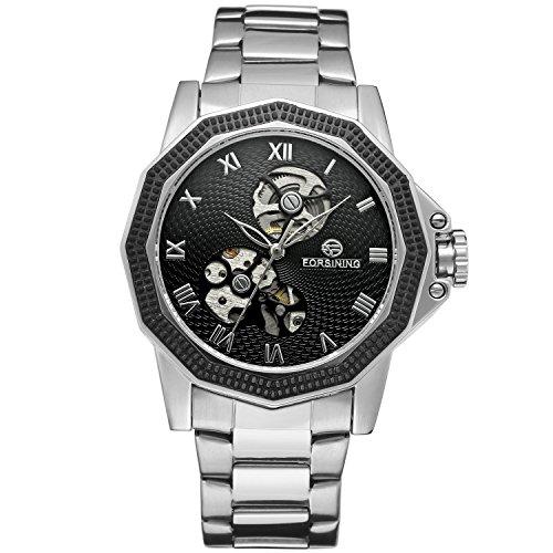 Forsining Hombres Esqueleto clásico de Pulsera de Acero Inoxidable Dial analógico Reloj...
