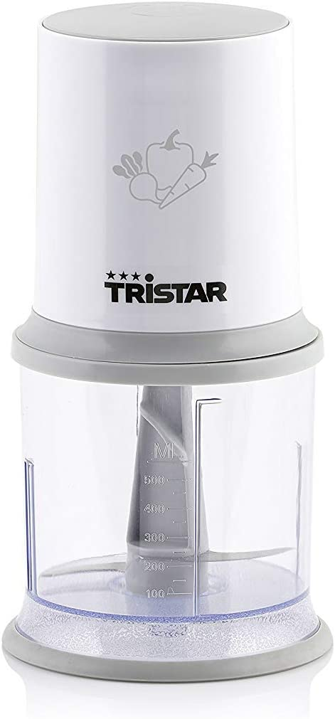 Tristar BL-4020 Mini Picadora eléctrica con botón operacional, capacidad de 0.5 L, cuchillas desmontables de acero inoxidable, Multifunción Tritura, Trocea, Pulveriza, Pica, 200 W