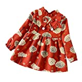 Toddler Baby Girls Long Sleeve Floral Flower Print Knee-Length Dress Outfits Clothes Red