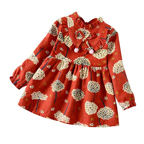 YWLINK MäDchen RüSchen Lange ÄRmel Süß LöWenzahn Blume Drucken Kleidung OutfitsMode Freizeit Urlaub Kleidung (Rot,3XL)