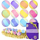 spa luxetique bath bombs gift set, 12 x 3.2oz fizzies spa kit, natural shea & coco butter dry skin