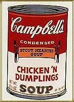 ポスター アンディ ウォーホル Sunday B Morning キャンベル缶Ⅱ Chickin Dumplings 限定1500枚 額装品 アルミ製ハイグレードフレーム(ゴールド)