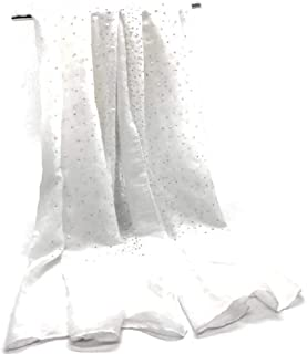 COTTON JERSEY PEARL & SILVER BEADED HIJAB SCARF SHAWL Light Weight Elegance 72