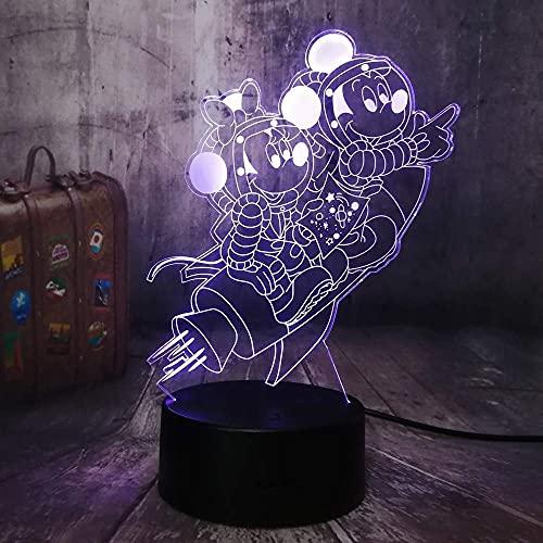 3D 7 colores Lighttravel Space Mickey Mouse & Amp; Minnie Mouse 3D Led Night Light 7 colores Regalos de escritorio para niños y decoración de habitaciones