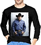 Thimd George Strait Camiseta de Exterior de Manga Larga Suave para Hombre 100% algodón con Estampado Camisetas Negro