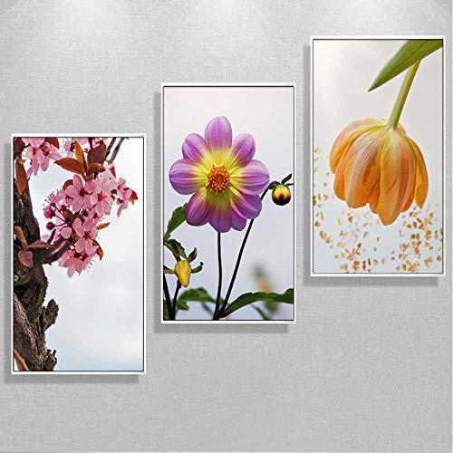 YSNMM Chinese perzik 3 stuks bloemenfoto's Decoratie De kop van het bed Canvas Schilderij muurkunst zonder lijst