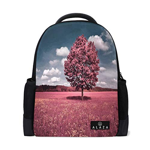 Travel Laptop Backpack Women Print Bookbags Pink Tree Best School College Student Daypack for Girls Teenage