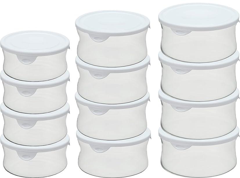 作成するユニークな不条理iwaki(イワキ) 耐熱 ガラス 保存容器 丸型 パック&レンジ 12点セット ホワイト 380ml×4個、840ml×4個、1300ml×4個 BST-NPR12W