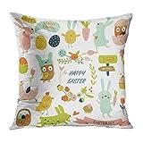 Dekokissenbezug Throw Pillow Cover Ostern Cute Bunnies Hühner Eulen und Eier in Cartoon Style Kissen Home DecorPillowcase