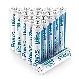 POWXS Pilas AAA 1100 mAh precargadas 1.2 V Ni-MH AAA alta capacidad 16 unidades con fundas 1500 tiempos de reciclaje, baja autodescarga