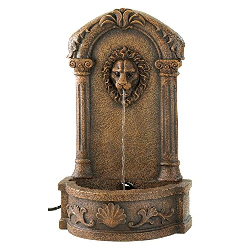 Water Fountains Outdoor, Faux Stone Lion Head Wall Fountain for Backyard