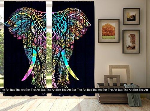 The Art Box Elephant Window Curtains Indian Drape Hanging Valances for Balcony Room Decor Bedroom Curtain Boho Set Tapestry Curtains Drapes & Valances Bohemian (No: #CURN68_T)