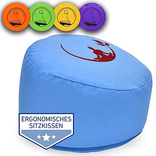 KlarGeist® Cojín ergonómico de meditación y yoga, diseño de Buda de media luna, color azul claro, altura del asiento mediana (17-18 cm)