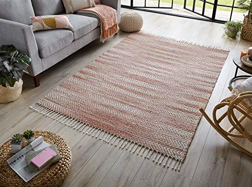 - LordOfRugs - Kobo - Alfombra de yute suave de chenilla con flecos de fibra natural y alfombra de diseño de verano (rosa, 160 x 230 cm)