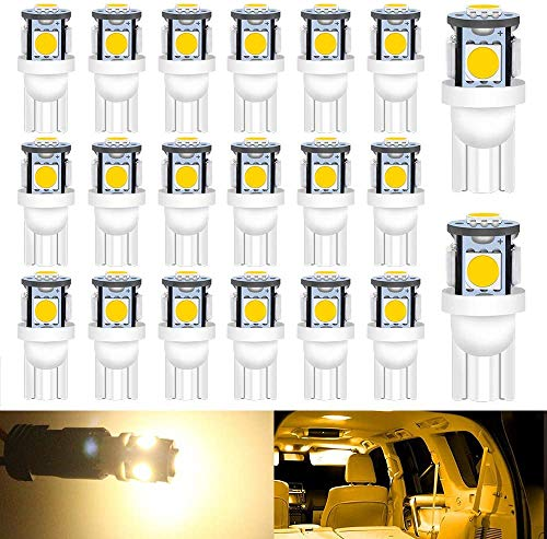 DEFVNSY Super Brillante Blanco cálido T10 194 2825 168 Bombilla LED 5050 Chipset 5SMD para 12 V Interior de Coche Domo Mapa Puerta Marcador de cortesía Luces de matrícula (Paquete de 20)