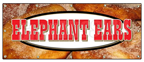 "48""x120"" Elephant Ears Banner Sign concessions Signs Ear Fresh hot Crispy"