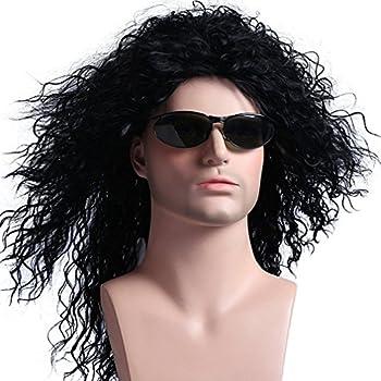 Menoqi Mens Wig 70s 80s Disco Rock Dude Wig Halloween Costumes Punk Metal Rocker Wig Long Curly Black Cosplay Wig Mullet Wig WIG136