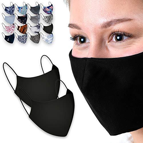 CASAdiNOVA®️ 2er Set - Premium Mund & Nasenmaske - Extra hochwertige Alltagsmaske aus Baumwolle mit Filtertasche - Angenehmes Atmen, Perfekter Sitz - Waschbar bis 60°, 2-Lagig (Schwarz)