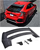 Extreme Online Store Replacement for 2016-Present Honda Civic Hatchback FK4 FK7 | JDM Mugen Style ABS Plastic Primer Black Rear Roof Top Wing Spoiler