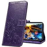 MRSTER Handyhülle für Motorola One Zoom Hülle, Schutzhüllen aus Klappetui mit Kreditkartenhaltern, Ständer, Magnetverschluss Tasche Kompatibel für Motorola One Zoom. Luck Clover Purple