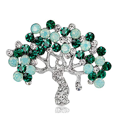 YONGHUI Elegant Crystal Tree of Life Brooch Pins Rhinestone Brooches for Women Ladies Birthday Mother's Day Birthday Gifts Lapel Scarf Clothing Accessories