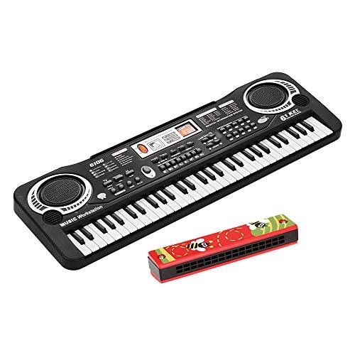 Benkeg teclado de piano electrónico,Teclado de piano digital electrónico de 61 teclas con altavoces dobles Micrófono USB/alimentado por batería + armónica de trémolo 16 agujeros Instrumento mus