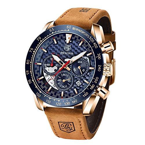 BY BENYAR Relojes Hombre Cuarzo cronógrafo Impermeable Business Casual Deporte Reloj de...