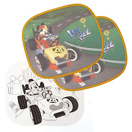 Arditex WD11901 Zonnescherm voor ramen, 2 stuks, incl. Disney-Mickey Super Pilots schilderij