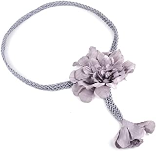 SGJFZD Women's Belt Fashion Wild Handmade Wax Rope Fashionable Weave Ethnic Style Big Flower Simple Waist Chain Dress Belt (Color : Grey)