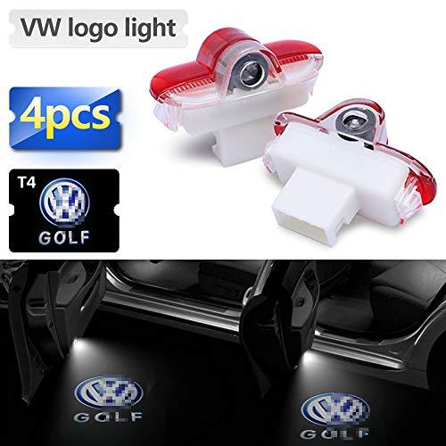 Zobir 4 Piezas HD Puerta De Coche Luz De Bienvenida Logotipo Entrada Luz De Proyección Lámpara De Sombra Fantasma para Volkswagen Lavida/Touran/Escarabajo/Caddy/Golf/Bora