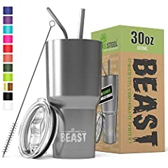 ★ EXCLUSIVE BONUS BEAST BUNDLE - Offering unrivaled value for money: 2 unbreakable steel straws, a free straw brush to make cleaning even easier & 1 splash proof lid presented in a beautiful Gift Box. With so many second-rate tumblers available on th...
