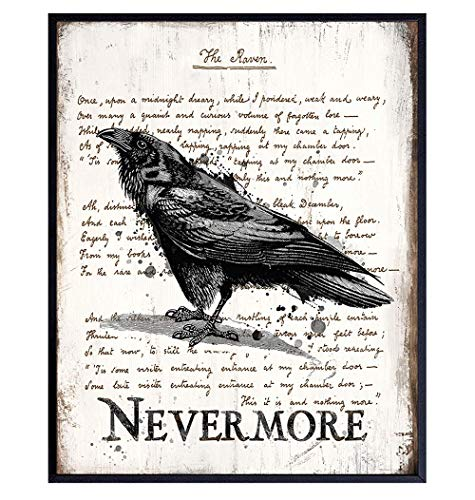 Edgar Allan Poe Gifts - The Raven - Nevermore - Creepy Poetry Poem Wall Art - Goth Room Decor - Gothic Home Decor - Vintage Rustic Decoration - 8x10 Retro Poster Print - Sign Plaque Poster - Unframed