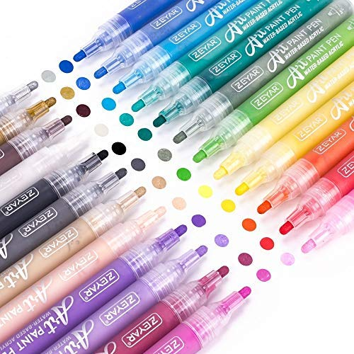 ZEYAR Acrylic Paint Pens for Rock painting, 24 colors, Water based Medium Point, Assorted Colors,Odorless,Acid Free,Non-Toxic and Safe to Use