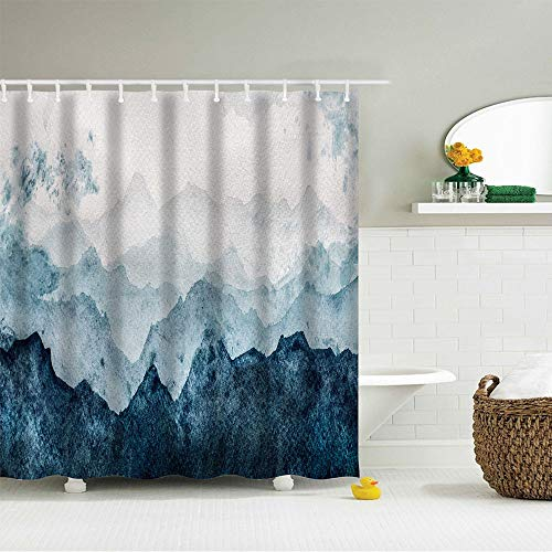 IcosaMro Mountain Shower Curtain for Bathroom with Hooks, Watercolor Forest Nature Landscape Scenery Decorative Long Cloth Fabric Shower Curtain Bath Decorations, 71Wx72L, Blue