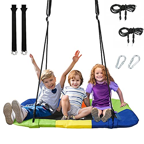 Platform Tree Swing for Kids and Adults 50' Rectangle Large Flying 700 lb Weight Capacity Adjustable...