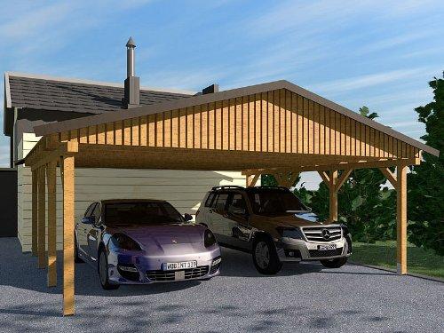 Carport Satteldach MONZA V 600x800cm Bausatz Satteldachcarport