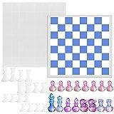 SENHAI Juego de moldes de resina para tablero de ajedrez, 1 tablero de juegos de tablero de silicona y 16 piezas de ajedrez 3D moldes de fundición de resina, para hacer manualidades, juegos de mesa
