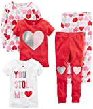 Carter's Baby Girls' 5-Piece Cotton Snug-Fit Pajamas, Hearts, 12 Months