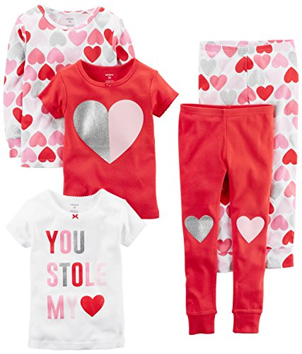 Carter's Baby Girls' 5-Piece Cotton Snug-Fit Pajamas, Hearts, 24 Months