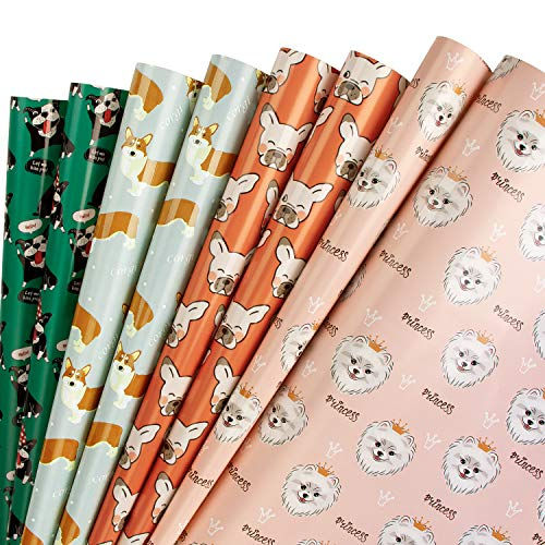 RUSPEPA Hojas De Papel Para Envolver Regalos - Impresión Uv Patrones Adorables Para Perros Para Cumpleaños, Vacaciones, Baby Shower - 1 Rollo Contiene 8 Hojas - 44.5 X 76 cm Por Hoja