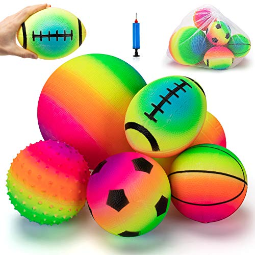 beetoy 6 Pcs Inflatable Sport Toddler Rainbow Balls Set with Pump for Toddler Includes Football Basketball Volleyball Baseball Rugby Spike and Bag Backyard Game Outdoor Sports for Kids